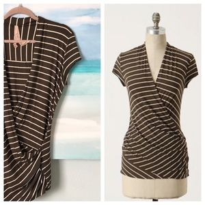Anthropologie Bailey44 Faux Wrap Tee Stripe